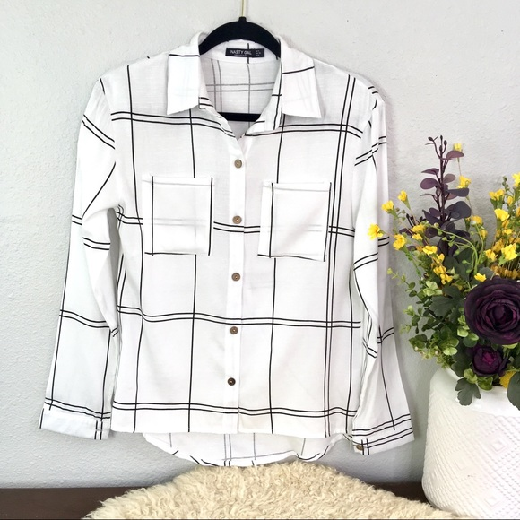 Nasty Gal Tops - Nasty Gal Collection textured gingham windowpane